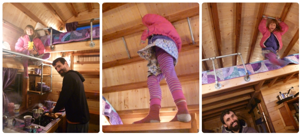 collage climbing in tiny house
